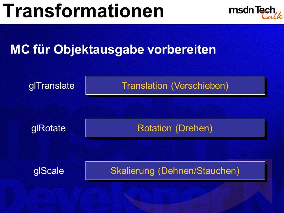 Transformationen Rotation (Drehen) Translation (Verschieben) Skalierung (Dehnen/Stauchen) glTranslate glRotate glScale MC für Objektausgabe vorbereite