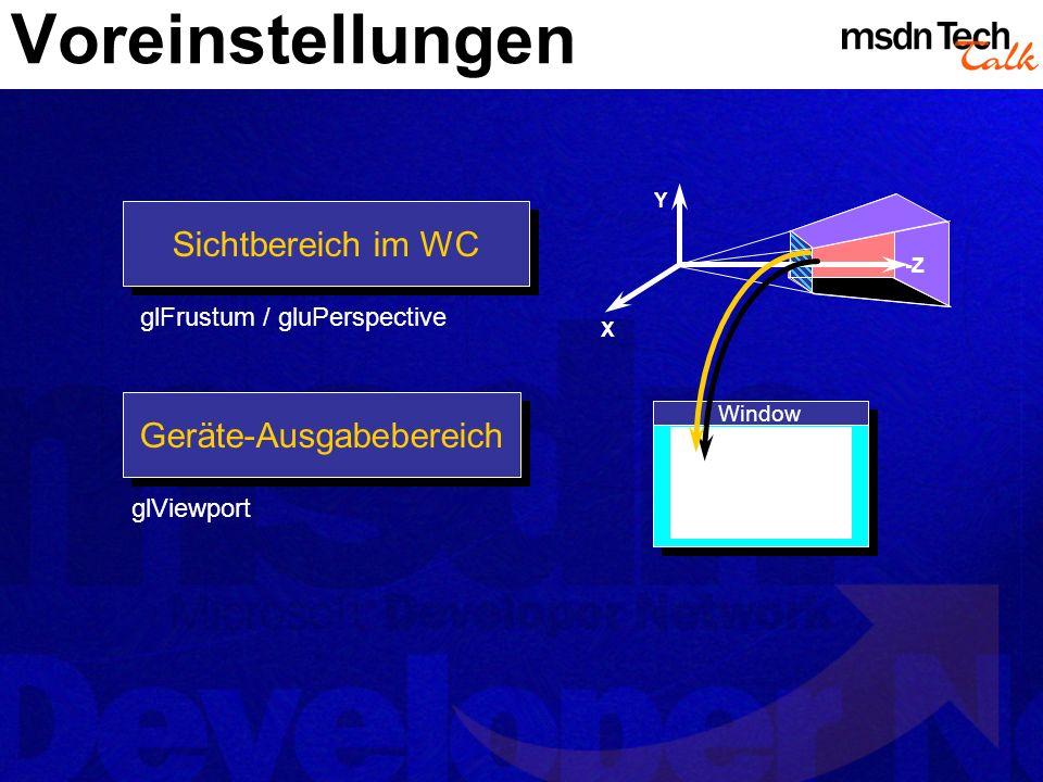 Voreinstellungen Sichtbereich im WC Geräte-Ausgabebereich Y X -Z Window glFrustum / gluPerspective glViewport