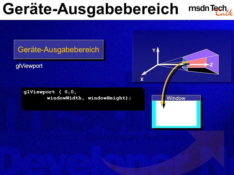 Geräte-Ausgabebereich Y X -Z Window glViewport ( 0,0, windowWidth, windowHeight); Geräte-Ausgabebereich glViewport
