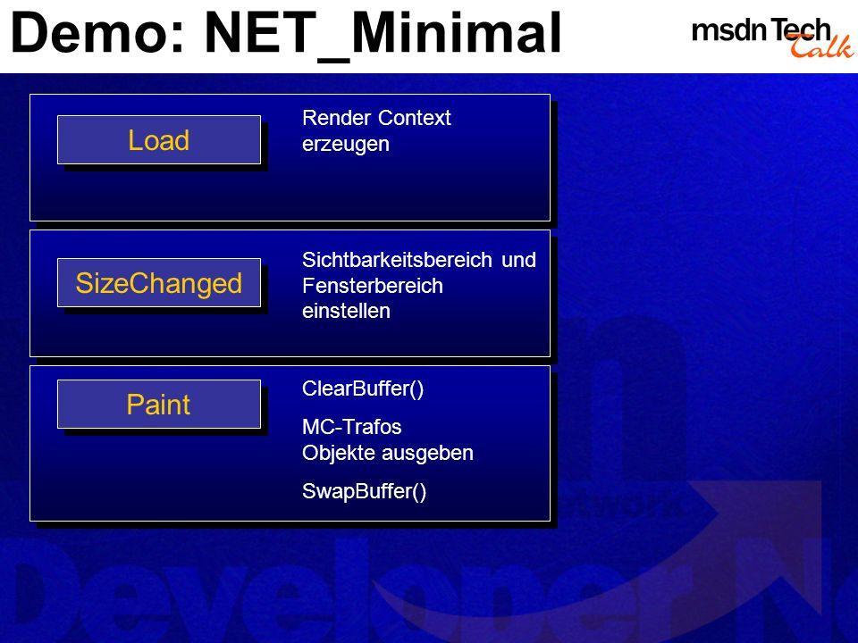 Demo: NET_Minimal Load SizeChanged Paint Render Context erzeugen Sichtbarkeitsbereich und Fensterbereich einstellen ClearBuffer() MC-Trafos Objekte au