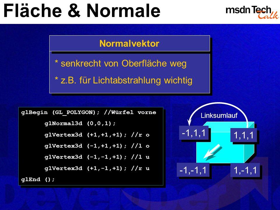 Fläche & Normale glBegin (GL_POLYGON); //Würfel vorne glNormal3d (0,0,1); glVertex3d (+1,+1,+1); //r o glVertex3d (-1,+1,+1); //l o glVertex3d (-1,-1,