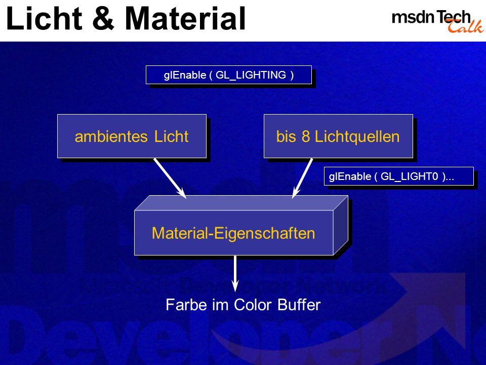 Licht & Material ambientes Licht bis 8 Lichtquellen Material-Eigenschaften Farbe im Color Buffer glEnable ( GL_LIGHTING ) glEnable ( GL_LIGHT0 )...