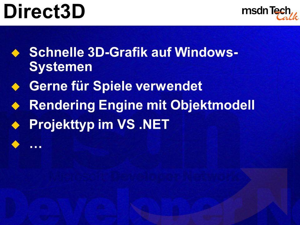 Direct3D Schnelle 3D-Grafik auf Windows- Systemen Gerne für Spiele verwendet Rendering Engine mit Objektmodell Projekttyp im VS.NET …