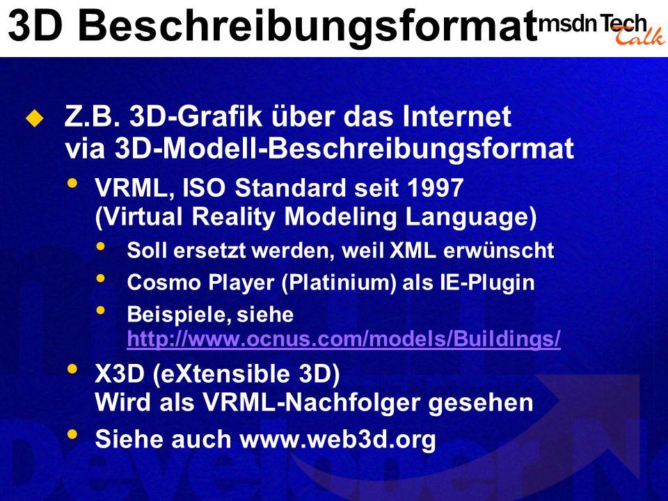 3D Beschreibungsformat Z.B. 3D-Grafik über das Internet via 3D-Modell-Beschreibungsformat VRML, ISO Standard seit 1997 (Virtual Reality Modeling Langu