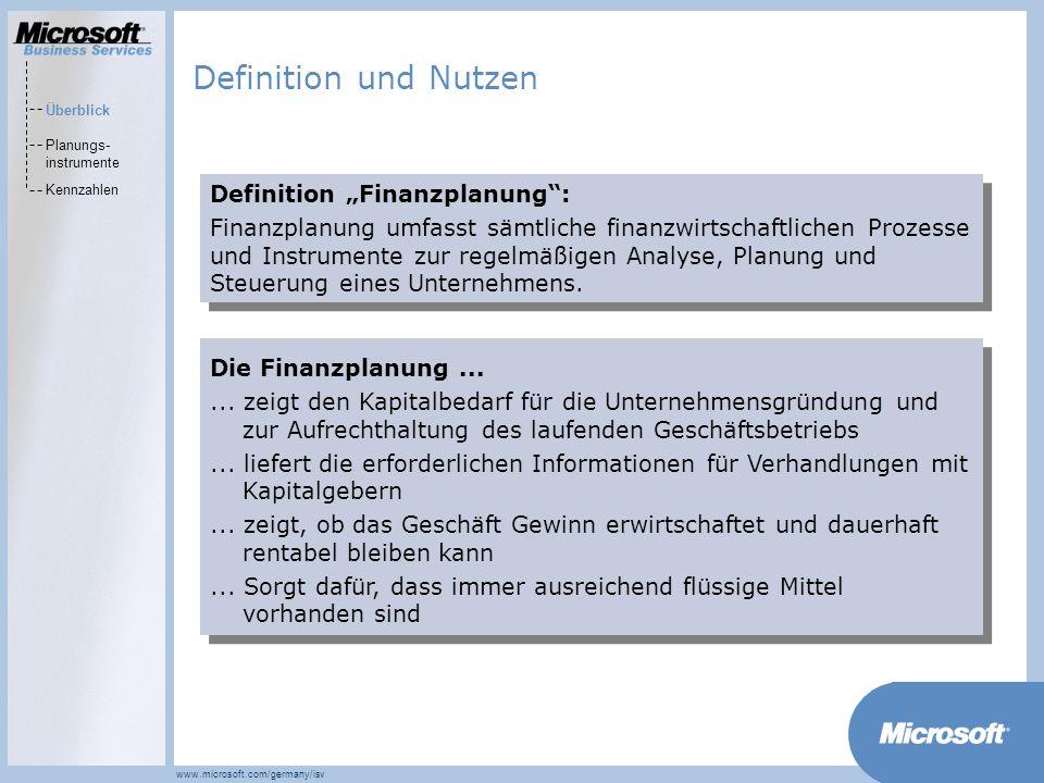 MarketsPrograms www.microsoft.com/germany/isv Definition Finanzplanung: Finanzplanung umfasst sämtliche finanzwirtschaftlichen Prozesse und Instrumente zur regelmäßigen Analyse, Planung und Steuerung eines Unternehmens.