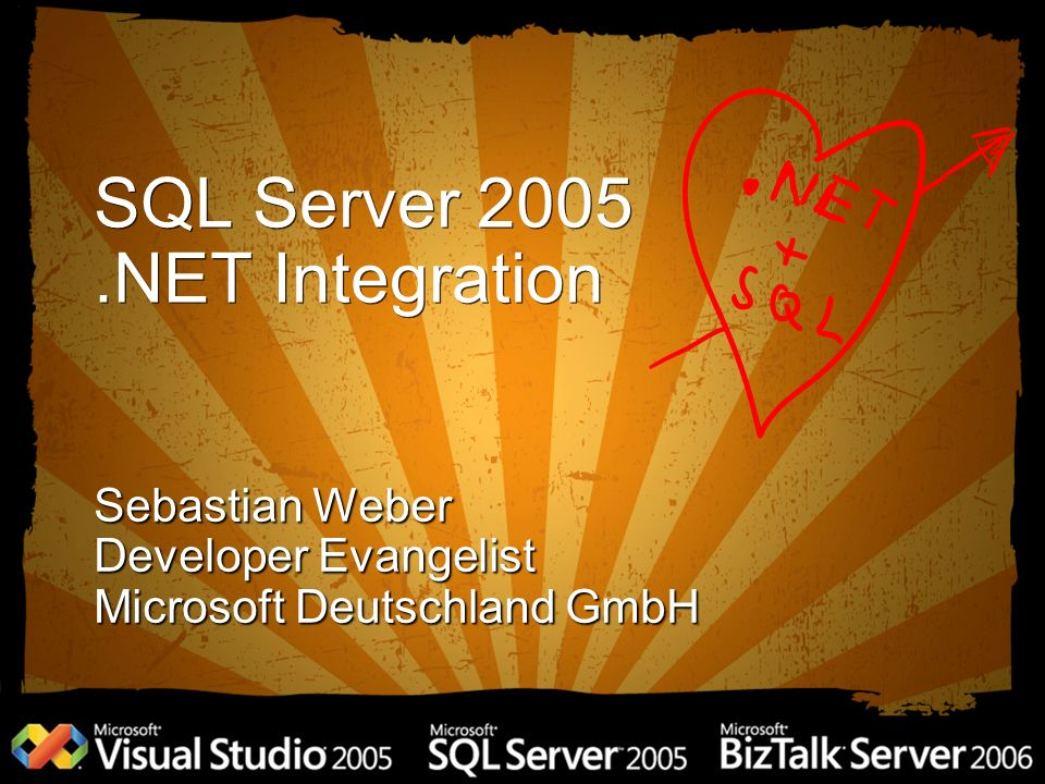 SQL Server 2005.NET Integration Sebastian Weber Developer Evangelist Microsoft Deutschland GmbH