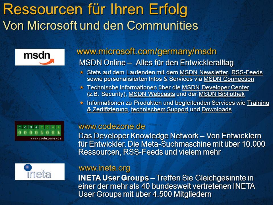 MSDN Online – Alles für den Entwickleralltag Stets auf dem Laufenden mit dem MSDN Newsletter, RSS-Feeds sowie personalisierten Infos & Services via MS