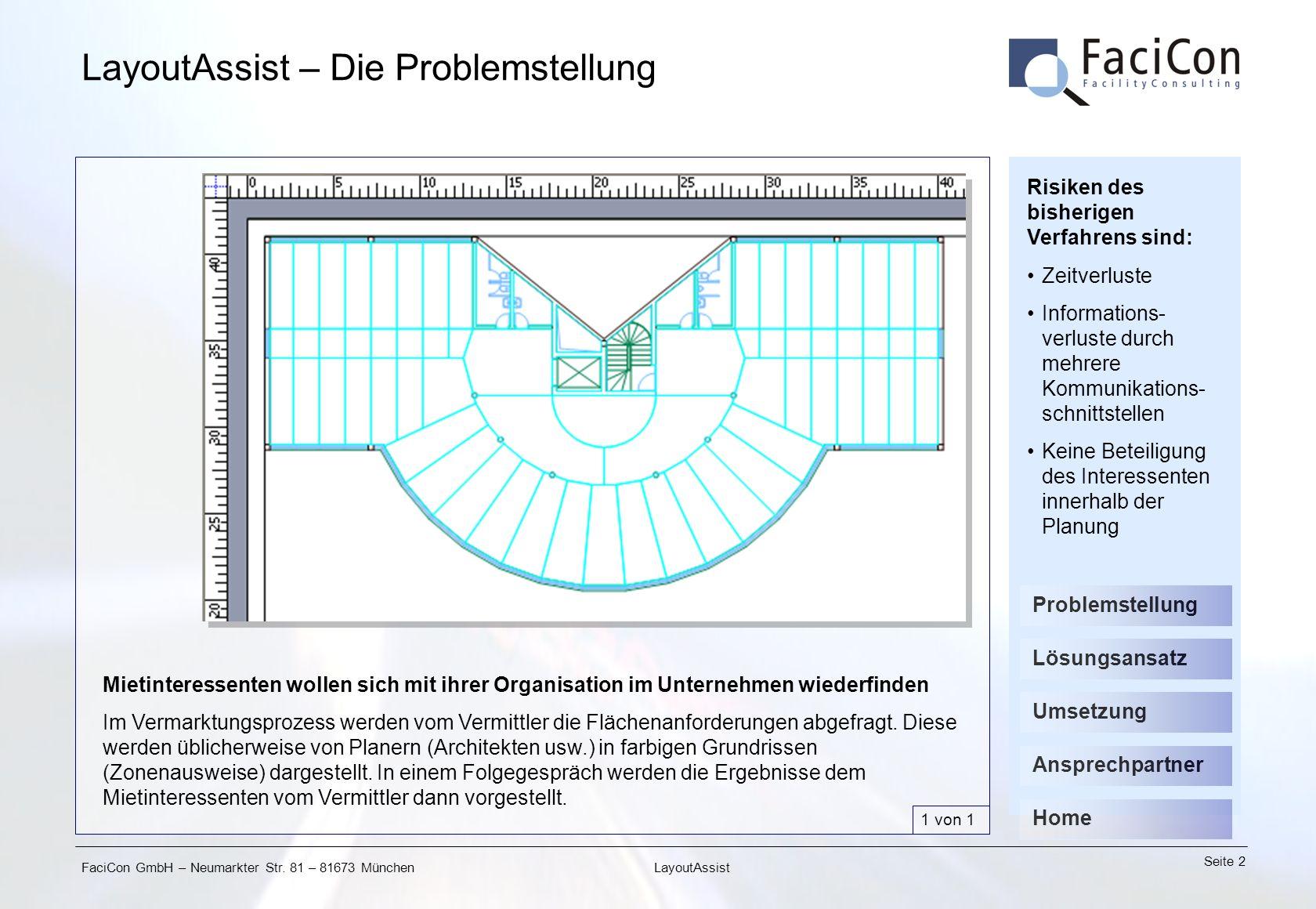 FaciCon GmbH – Neumarkter Str. 81 – 81673 München Seite 2 LayoutAssist LayoutAssist – Die Problemstellung Mietinteressenten wollen sich mit ihrer Orga