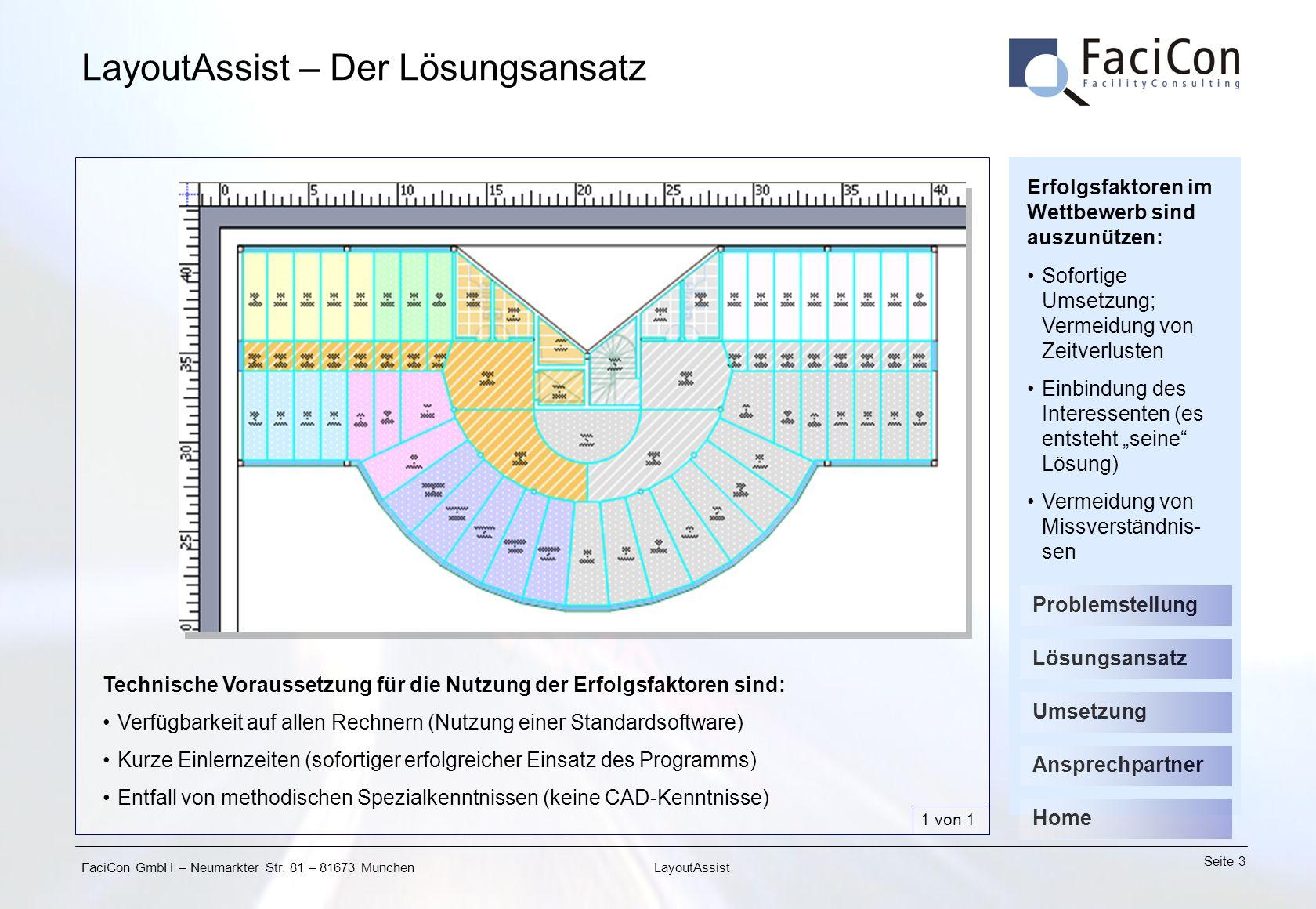 FaciCon GmbH – Neumarkter Str. 81 – 81673 München Seite 3 LayoutAssist LayoutAssist – Der Lösungsansatz Technische Voraussetzung für die Nutzung der E