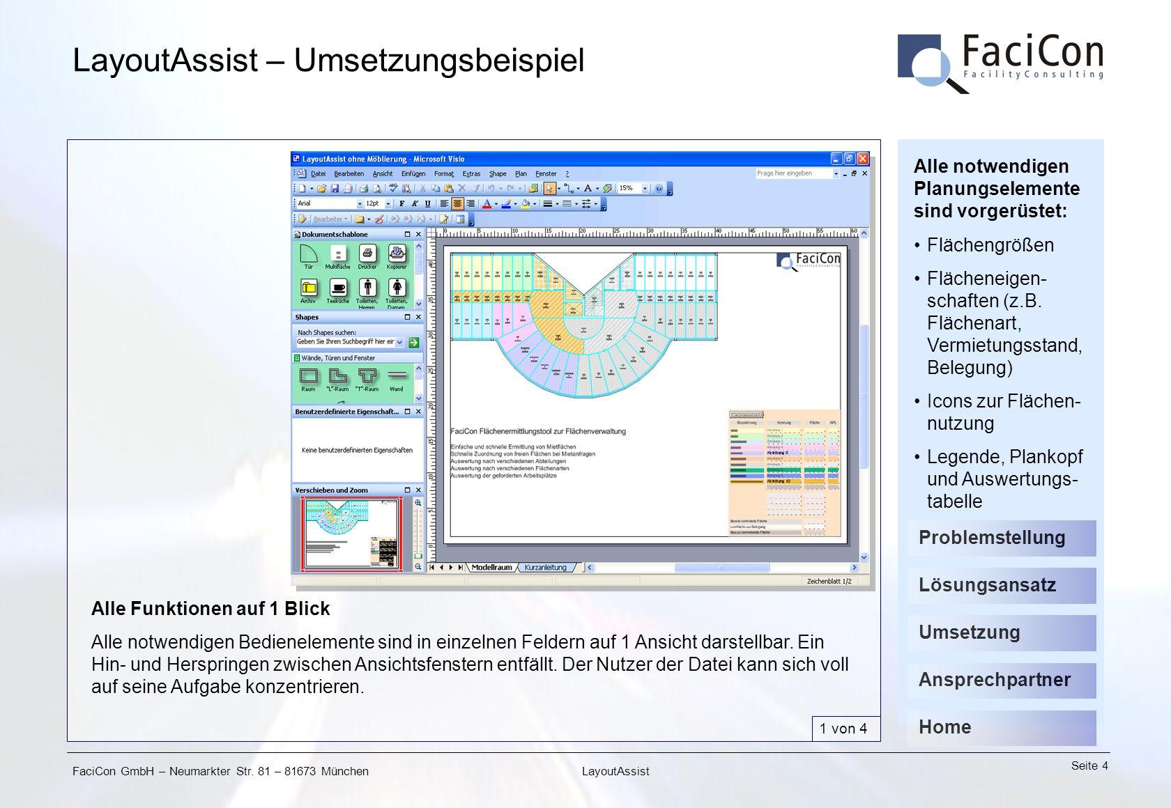 FaciCon GmbH – Neumarkter Str. 81 – 81673 München Seite 4 LayoutAssist LayoutAssist – Umsetzungsbeispiel Alle Funktionen auf 1 Blick Alle notwendigen