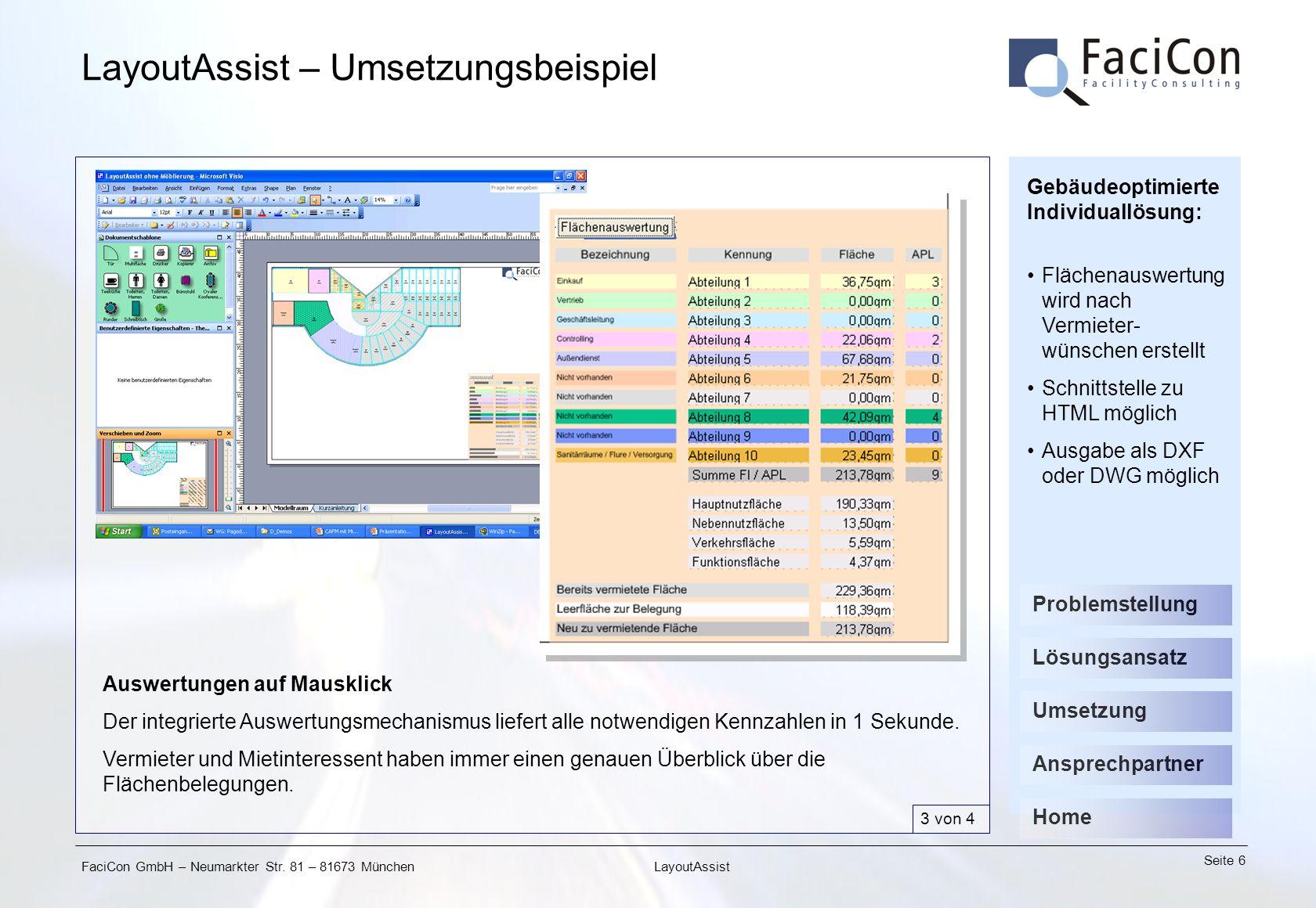 FaciCon GmbH – Neumarkter Str. 81 – 81673 München Seite 6 LayoutAssist LayoutAssist – Umsetzungsbeispiel Auswertungen auf Mausklick Der integrierte Au