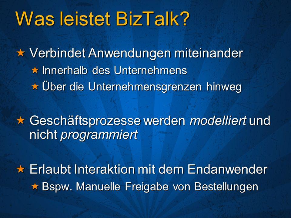 Was leistet BizTalk? Verbindet Anwendungen miteinander Verbindet Anwendungen miteinander Innerhalb des Unternehmens Innerhalb des Unternehmens Über di