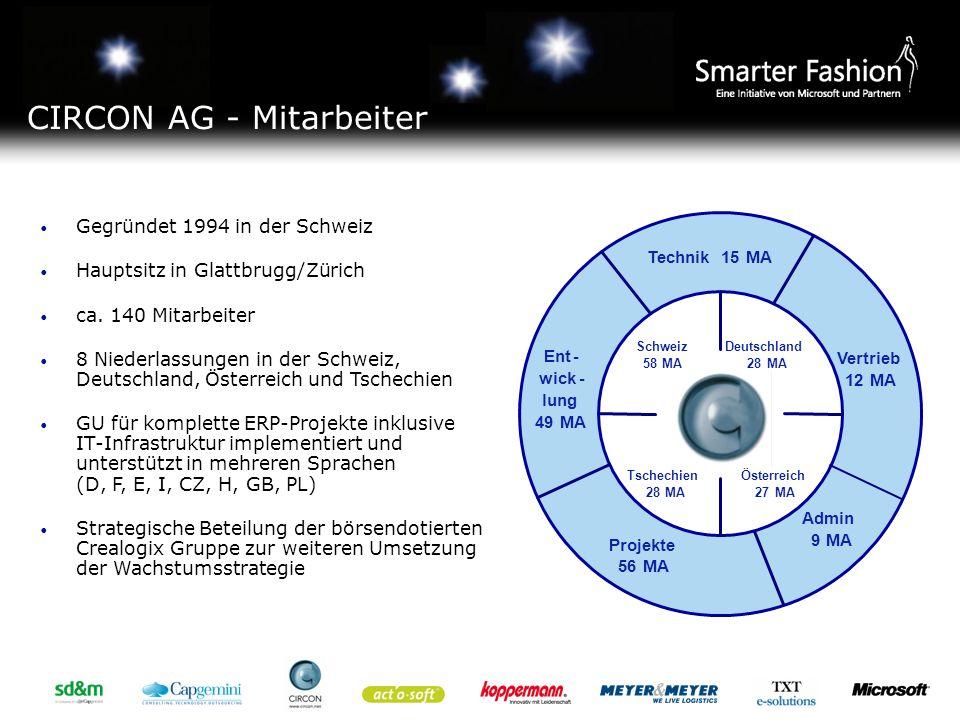 Hannover Leichlingen Villingen Schwenningen Budapest Linz Graz Prag Baar Zürich Bern Dornbirn Lyss CIRCON AG - Standorte Die CIRCON ist für Microsoft der Hersteller der ERP-Retail Branchenlösung auf der Basis von Dynamics AX.