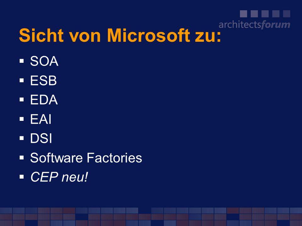 Sicht von Microsoft zu: SOA ESB EDA EAI DSI Software Factories CEP neu!