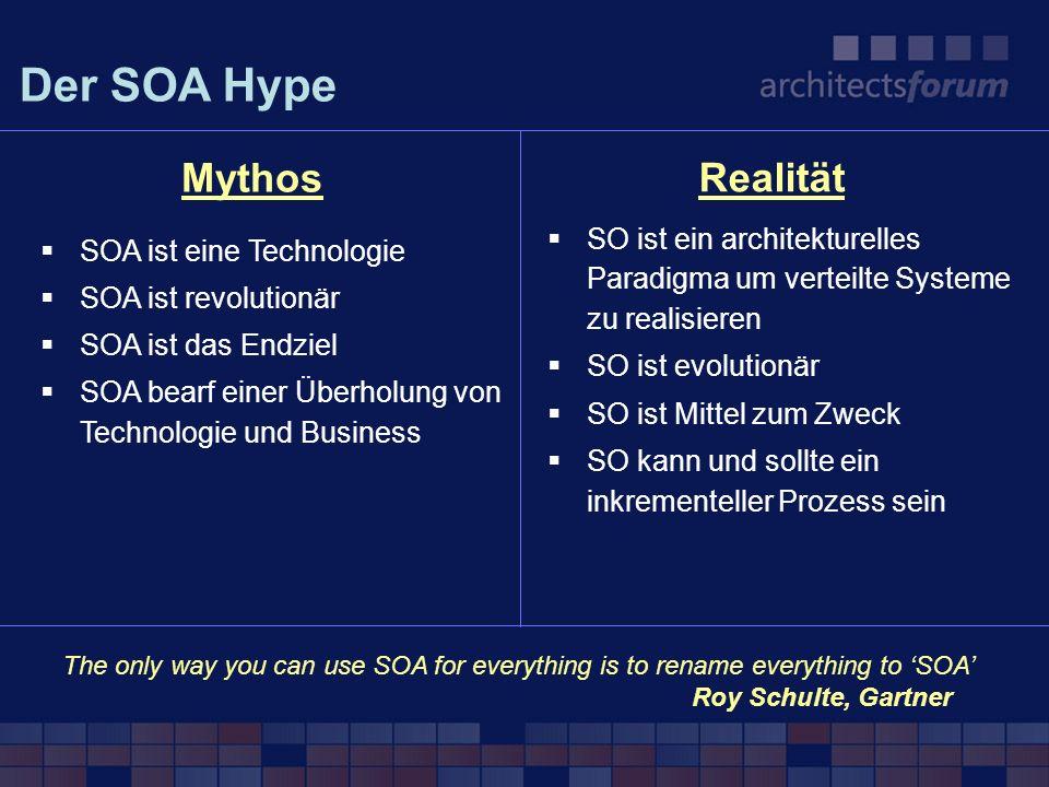 SOA definiert ein Prinzip Wieder- und Mehrfachverwendung von Softwarekomponenten im Sinne von koppelbaren Services Ein Service ist Applikationslogik die Daten verarbeitet verbunden ist mit anderen Services und über Nachrichten kommuniziert Service