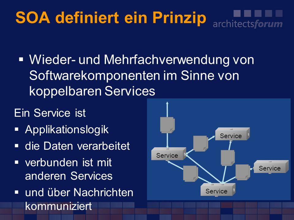 SOA definiert ein Prinzip Wieder- und Mehrfachverwendung von Softwarekomponenten im Sinne von koppelbaren Services Ein Service ist Applikationslogik d