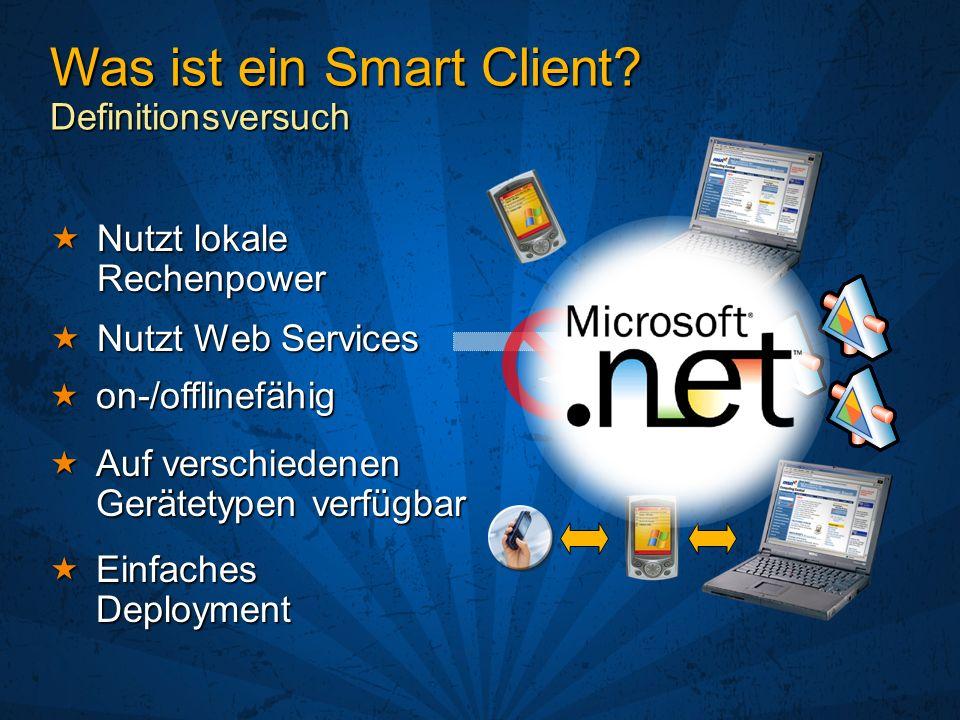 Nutzt Web Services Nutzt Web Services on-/offlinefähig on-/offlinefähig Auf verschiedenen Gerätetypen verfügbar Auf verschiedenen Gerätetypen verfügbar Nutzt lokale Rechenpower Nutzt lokale Rechenpower Einfaches Deployment Einfaches Deployment Was ist ein Smart Client.