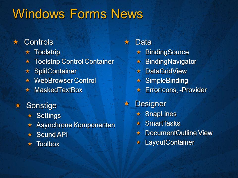 Neues von Windows Forms Dirk Primbs Technologieberater Microsoft Deutschland GmbH