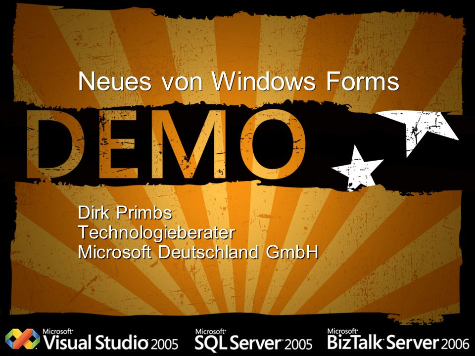 Neues von Windows Forms Dirk Primbs Technologieberater Microsoft Deutschland GmbH