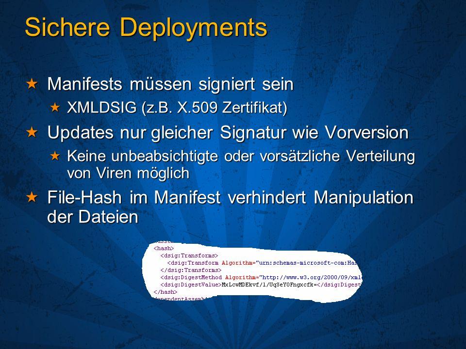 Sichere Deployments Manifests müssen signiert sein Manifests müssen signiert sein XMLDSIG (z.B.