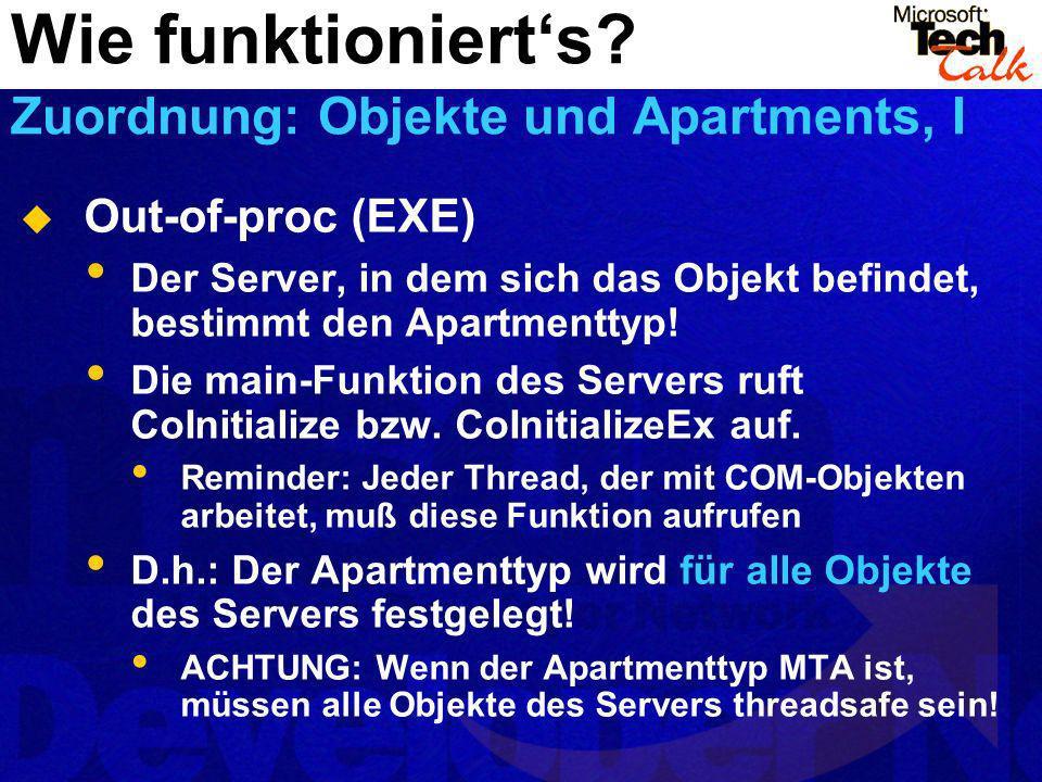Out-of-proc (EXE) Der Server, in dem sich das Objekt befindet, bestimmt den Apartmenttyp! Die main-Funktion des Servers ruft CoInitialize bzw. CoIniti