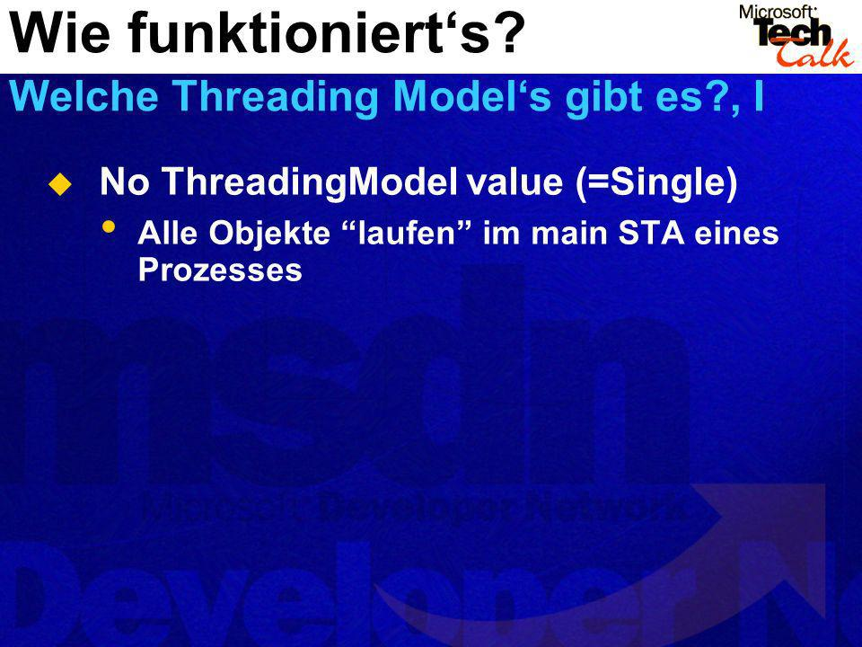 No ThreadingModel value (=Single) Alle Objekte laufen im main STA eines Prozesses Wie funktionierts.