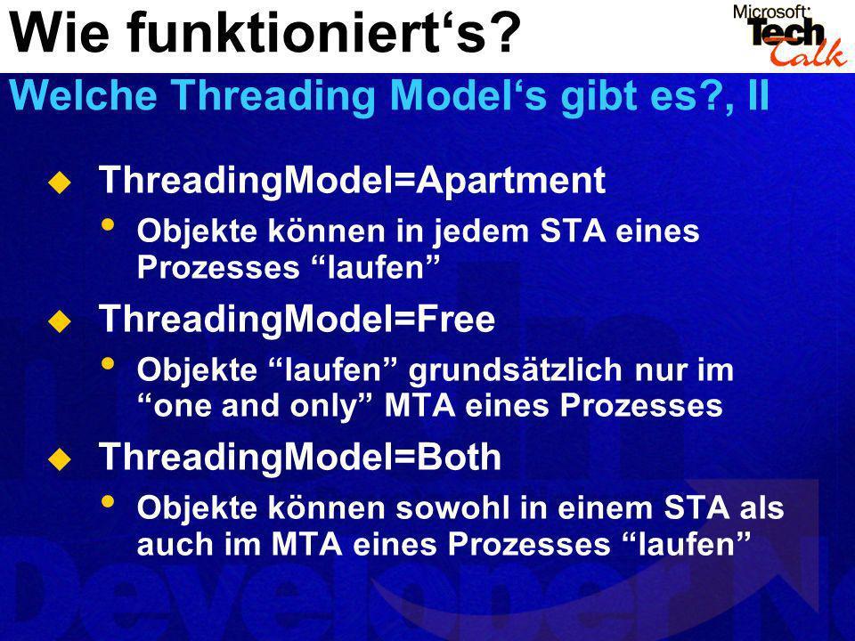 ThreadingModel=Apartment Objekte können in jedem STA eines Prozesses laufen ThreadingModel=Free Objekte laufen grundsätzlich nur im one and only MTA e