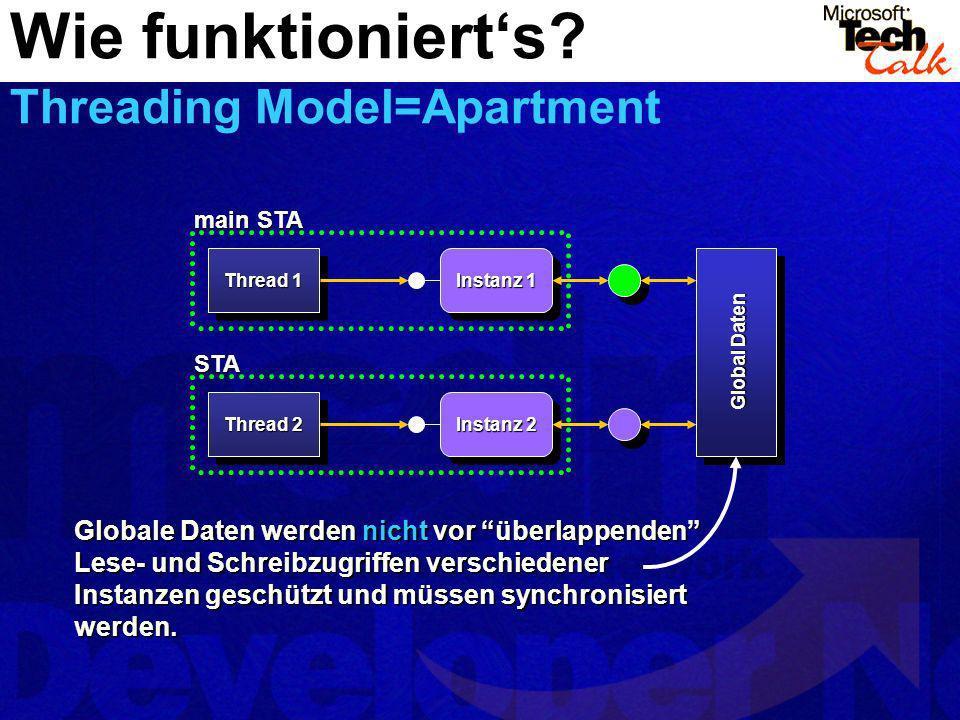 Thread 1 Instanz 1 Instanz 2 Thread 2 main STA STA Global Daten Globale Daten werden nicht vor überlappenden Lese- und Schreibzugriffen verschiedener