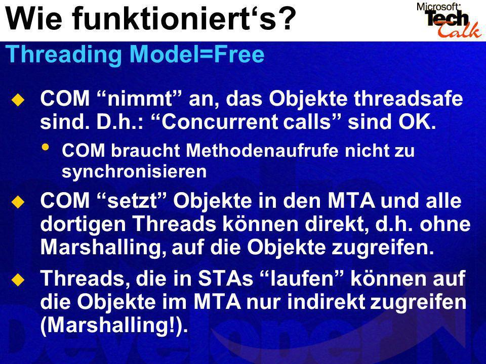 COM nimmt an, das Objekte threadsafe sind. D.h.: Concurrent calls sind OK. COM braucht Methodenaufrufe nicht zu synchronisieren COM setzt Objekte in d