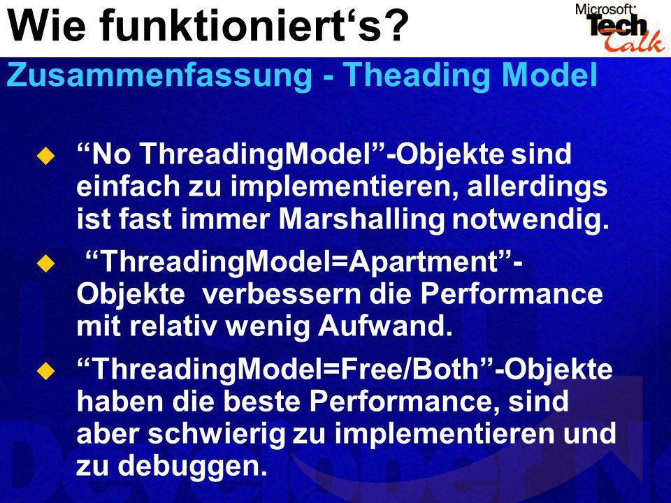 No ThreadingModel-Objekte sind einfach zu implementieren, allerdings ist fast immer Marshalling notwendig. ThreadingModel=Apartment- Objekte verbesser