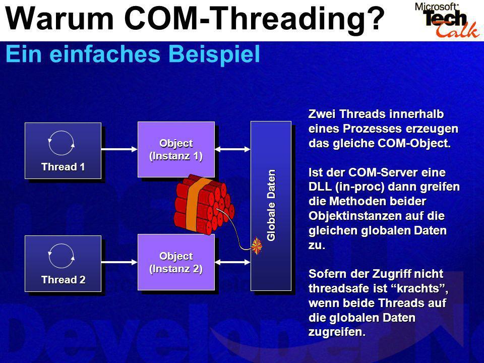 Object (Instanz 1) Object Thread 2 Object (Instanz 2) Object Thread 1 Zwei Threads innerhalb eines Prozesses erzeugen das gleiche COM-Object. Ist der