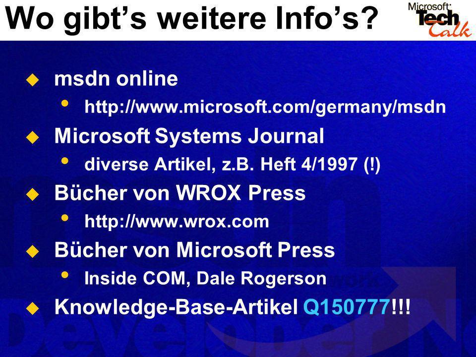 Wo gibts weitere Infos? msdn online http://www.microsoft.com/germany/msdn Microsoft Systems Journal diverse Artikel, z.B. Heft 4/1997 (!) Bücher von W
