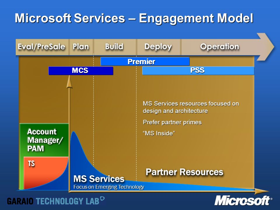MS Services resources focused on design and architecture Prefer partner primes MS Inside Focus on Emerging Technology MCS PSS Premier Microsoft Servic