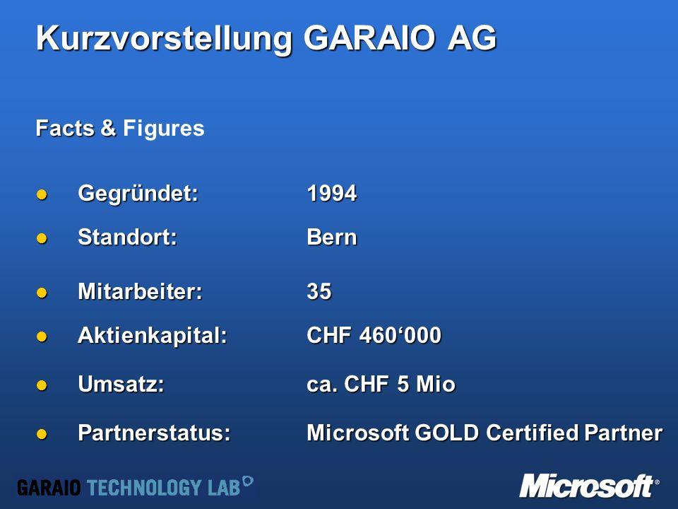 Kurzvorstellung GARAIO AG Facts & Facts & Figures Gegründet: 1994 Gegründet: 1994 Standort: Bern Standort: Bern Mitarbeiter: 35 Mitarbeiter: 35 Aktienkapital:CHF 460000 Aktienkapital:CHF 460000 Umsatz:ca.