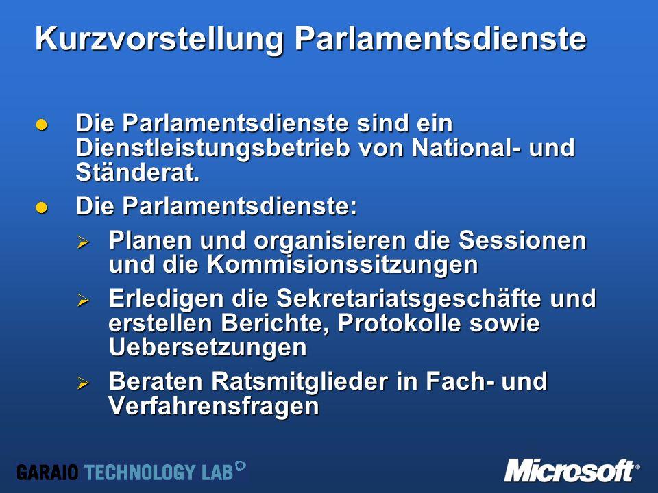 Kurzvorstellung Parlamentsdienste Die Parlamentsdienste sind ein Dienstleistungsbetrieb von National- und Ständerat.