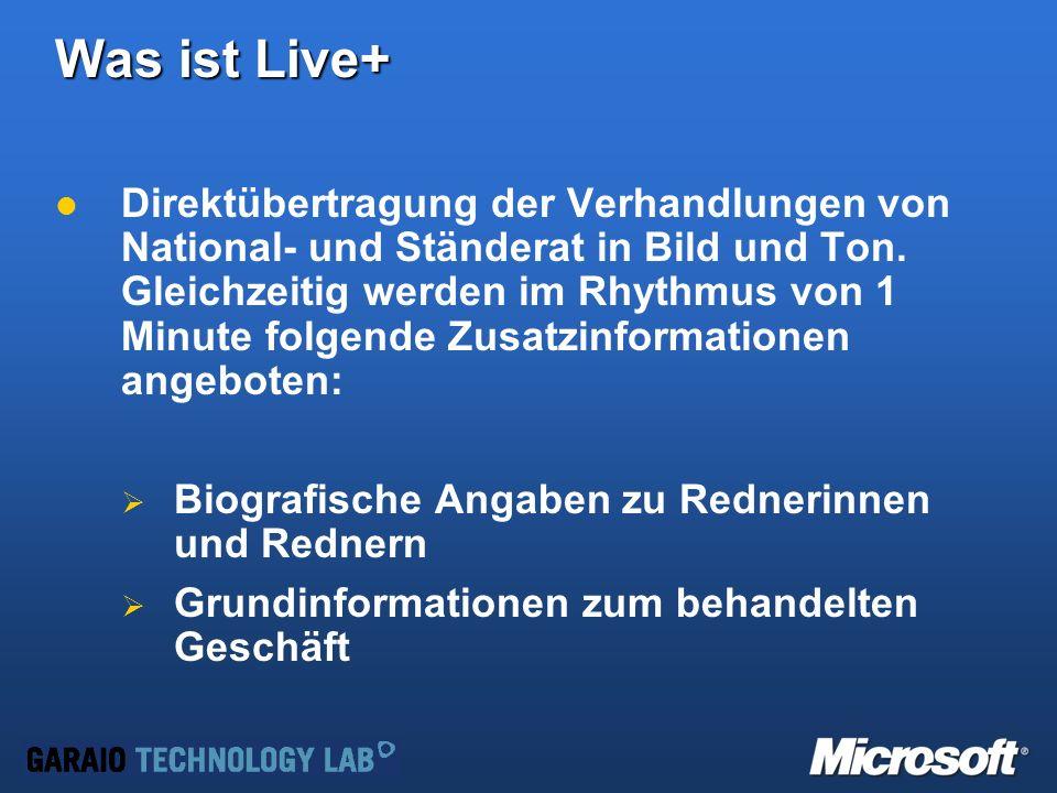 Was ist Live+ Direktübertragung der Verhandlungen von National- und Ständerat in Bild und Ton.
