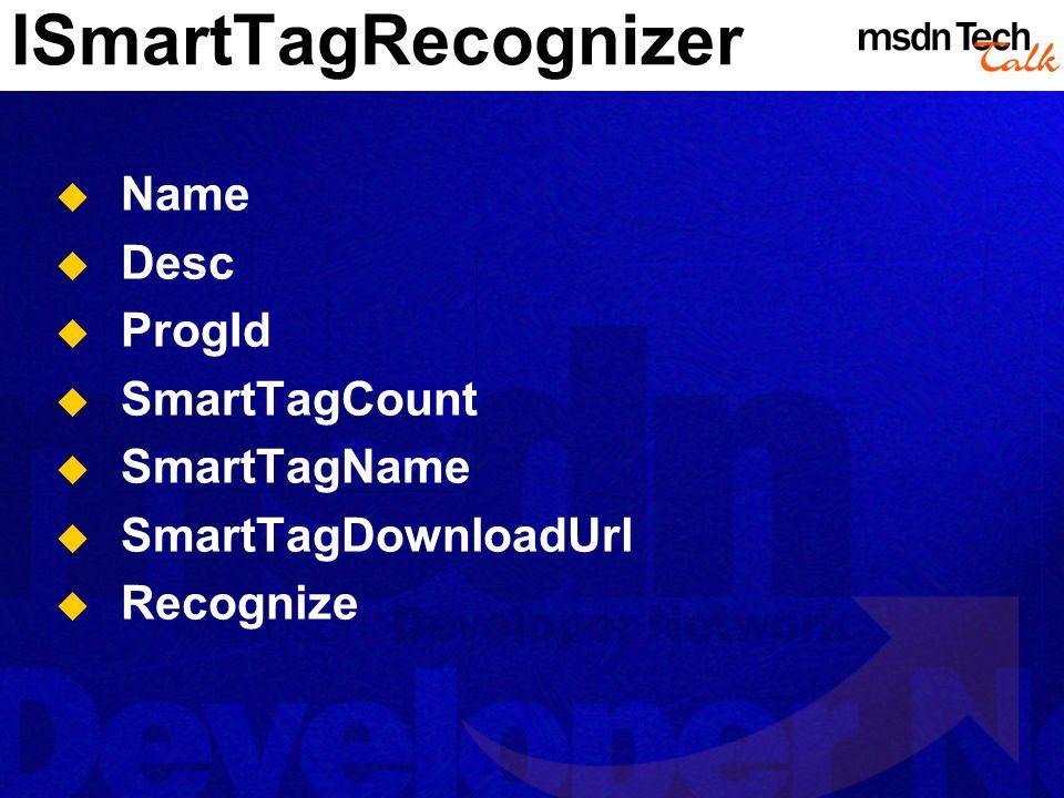 ISmartTagRecognizer Name Desc ProgId SmartTagCount SmartTagName SmartTagDownloadUrl Recognize