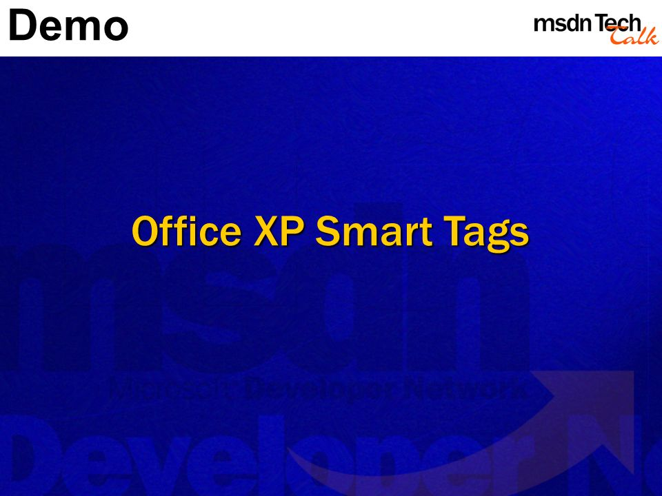 Office XP Smart Tags Demo