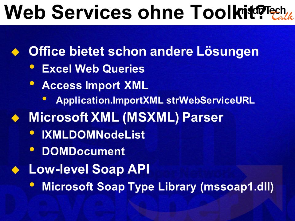 Web Services ohne Toolkit.