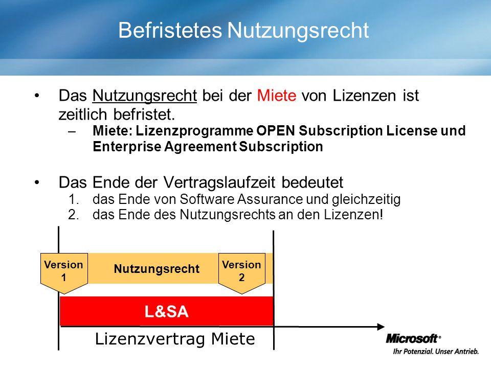 Nutzungsrecht Befristetes Nutzungsrecht Das Nutzungsrecht bei der Miete von Lizenzen ist zeitlich befristet.