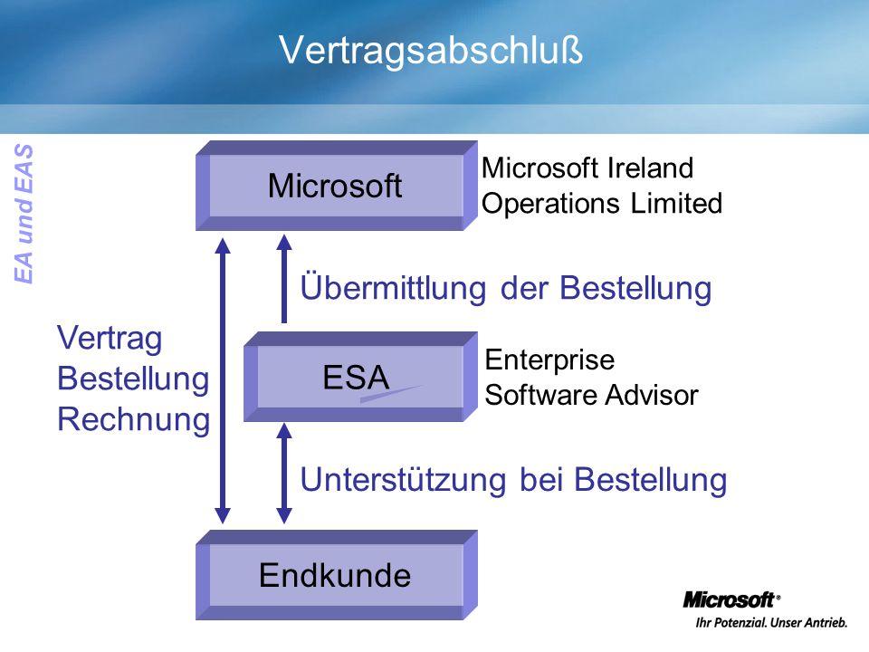 Vertragsabschluß ESA Endkunde Microsoft Enterprise Software Advisor Microsoft Ireland Operations Limited Vertrag Bestellung Rechnung Unterstützung bei Bestellung Übermittlung der Bestellung EA und EAS