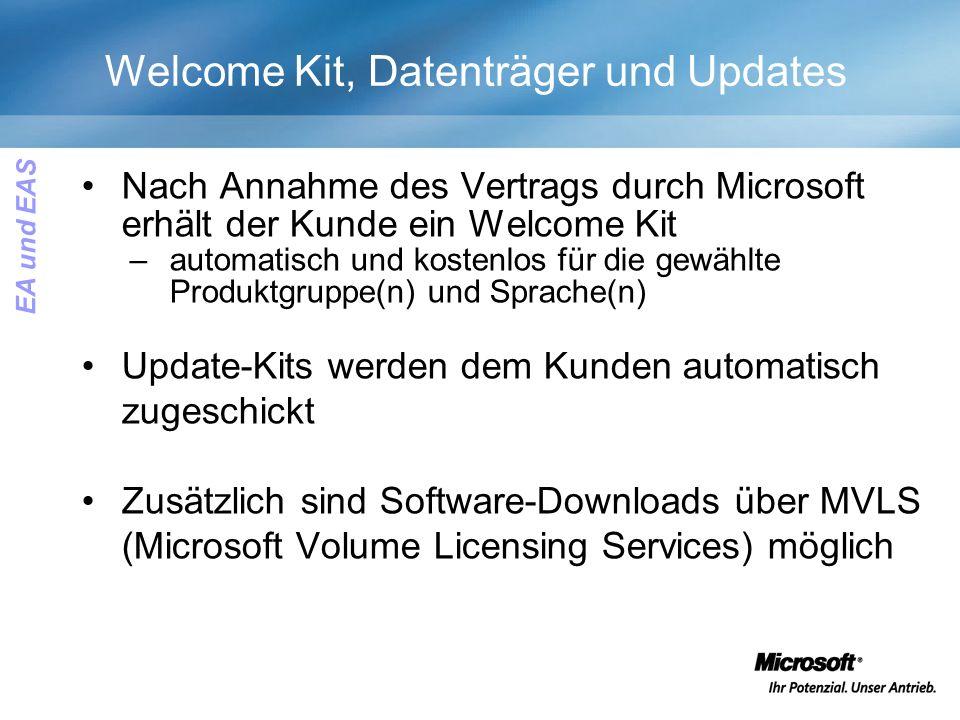 Welcome Kit, Datenträger und Updates Nach Annahme des Vertrags durch Microsoft erhält der Kunde ein Welcome Kit –automatisch und kostenlos für die gewählte Produktgruppe(n) und Sprache(n) Update-Kits werden dem Kunden automatisch zugeschickt Zusätzlich sind Software-Downloads über MVLS (Microsoft Volume Licensing Services) möglich EA und EAS