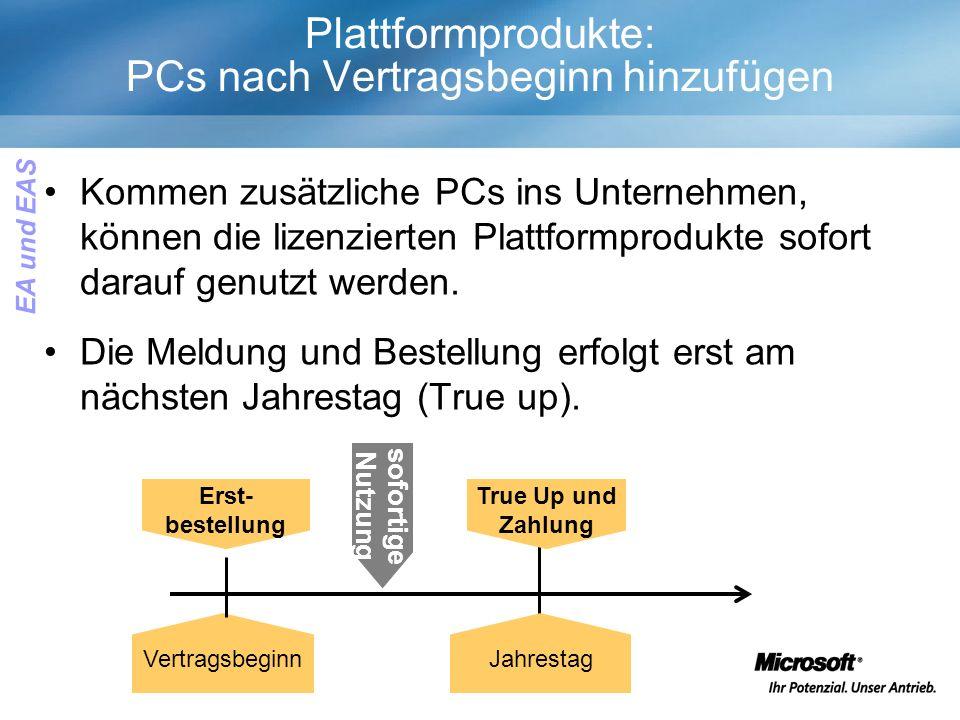 Plattformprodukte: PCs nach Vertragsbeginn hinzufügen Kommen zusätzliche PCs ins Unternehmen, können die lizenzierten Plattformprodukte sofort darauf genutzt werden.