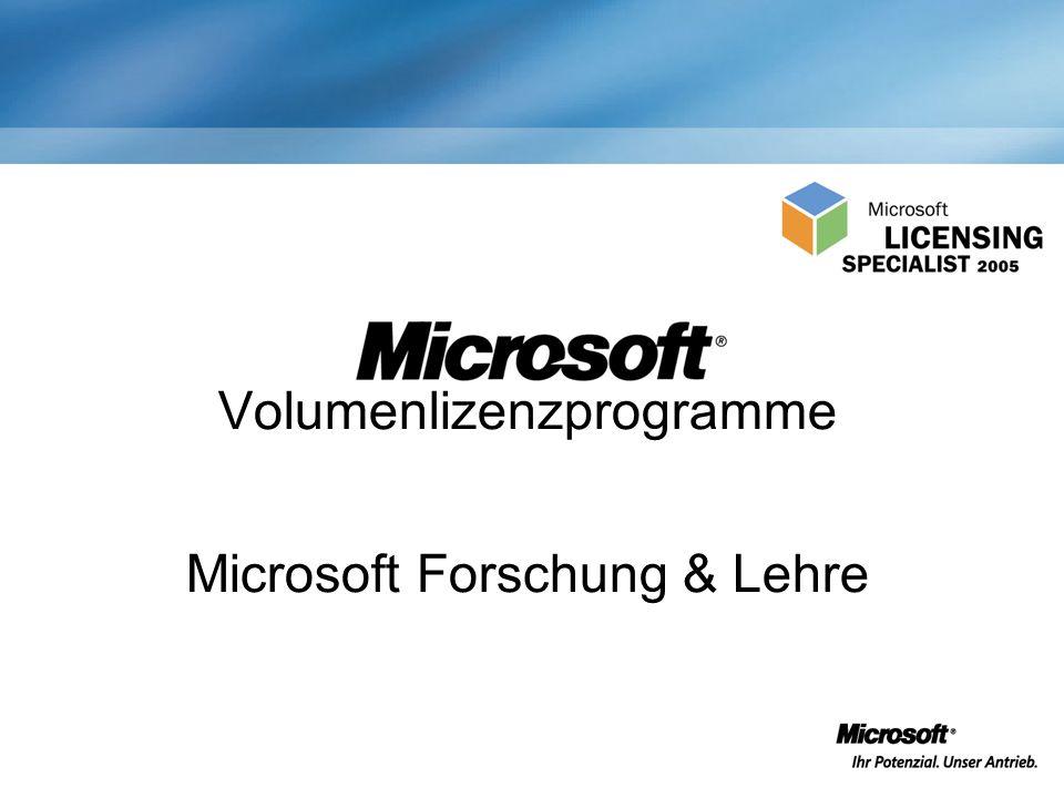 Volumenlizenzprogramme Microsoft Forschung & Lehre