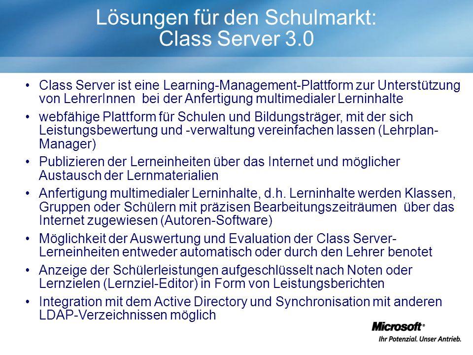 Class Server ist eine Learning-Management-Plattform zur Unterstützung von LehrerInnen bei der Anfertigung multimedialer Lerninhalte webfähige Plattform für Schulen und Bildungsträger, mit der sich Leistungsbewertung und -verwaltung vereinfachen lassen (Lehrplan- Manager) Publizieren der Lerneinheiten über das Internet und möglicher Austausch der Lernmaterialien Anfertigung multimedialer Lerninhalte, d.h.