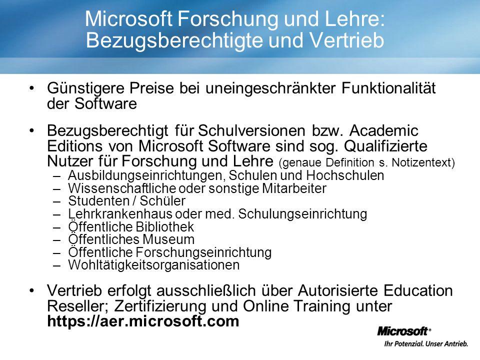 Microsoft Forschung und Lehre: Bezugsberechtigte und Vertrieb Günstigere Preise bei uneingeschränkter Funktionalität der Software Bezugsberechtigt für Schulversionen bzw.