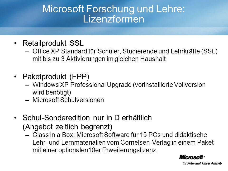 Microsoft Forschung und Lehre: Lizenzformen Retailprodukt SSL –Office XP Standard für Schüler, Studierende und Lehrkräfte (SSL) mit bis zu 3 Aktivierungen im gleichen Haushalt Paketprodukt (FPP) –Windows XP Professional Upgrade (vorinstallierte Vollversion wird benötigt) –Microsoft Schulversionen Schul-Sonderedition nur in D erhältlich (Angebot zeitlich begrenzt) –Class in a Box: Microsoft Software für 15 PCs und didaktische Lehr- und Lernmaterialien vom Cornelsen-Verlag in einem Paket mit einer optionalen10er Erweiterungslizenz