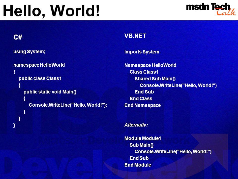 Hello, World! C# using System; namespace HelloWorld { public class Class1 { public static void Main() { Console.WriteLine(