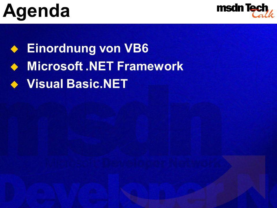 Von VB6 zu VB.NET Conversion Wizard Funktioniert in Beta 2 noch unzureichend Probleme vor allem mit UI-bezogenem Code COM-Interop VB6 COM-Komponenten aus.NET Programmen nutzen.NET Komponenten in VB6-Programmen nutzen Nur komponentenbasierte Anwendungen werden einigermaßen schmerzfrei migriert werden können.