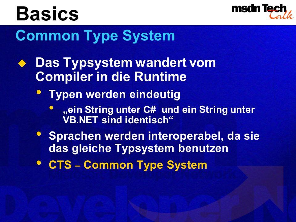 Das Typsystem wandert vom Compiler in die Runtime Typen werden eindeutig ein String unter C# und ein String unter VB.NET sind identisch Sprachen werden interoperabel, da sie das gleiche Typsystem benutzen CTS – Common Type System Basics Common Type System